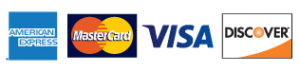 Accepted Credit Card Logos, Visa, Mastercard, Discover, and American Express